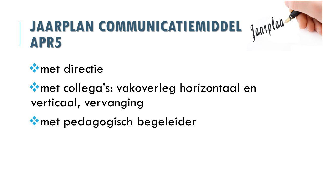 JAARPLAN COMMUNICATIEMIDDEL APR5  met directie  met collega's: vakoverleg horizontaal en verticaal, vervanging  met pedagogisch begeleider