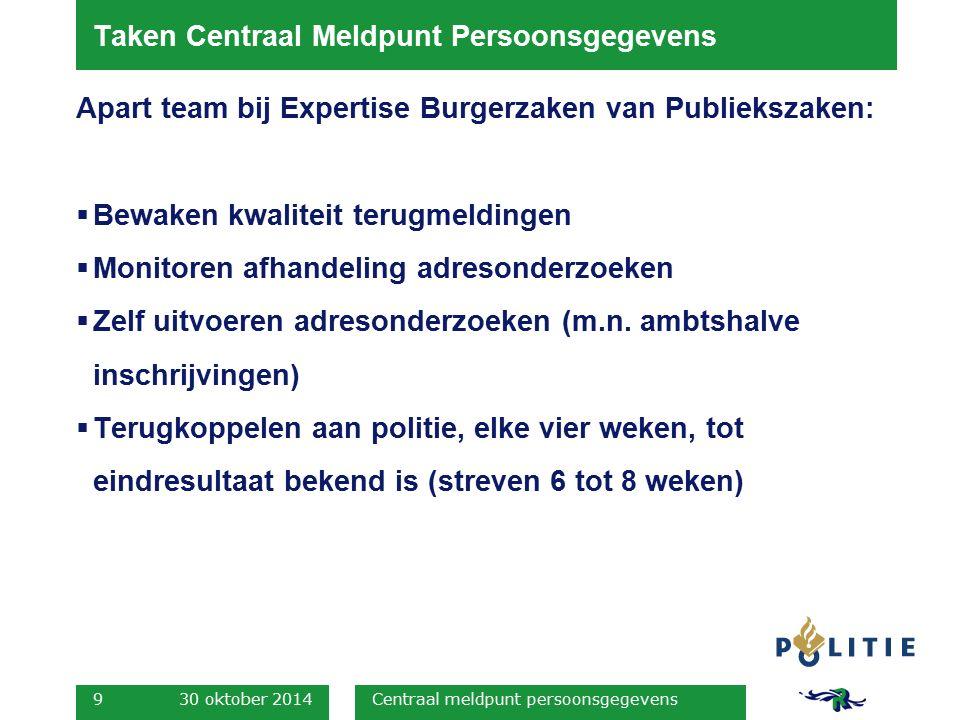 Taken Centraal Meldpunt Persoonsgegevens Apart team bij Expertise Burgerzaken van Publiekszaken:  Bewaken kwaliteit terugmeldingen  Monitoren afhand
