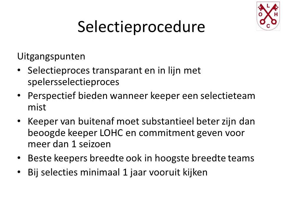 Selectieprocedure Uitgangspunten Selectieproces transparant en in lijn met spelersselectieproces Perspectief bieden wanneer keeper een selectieteam mi