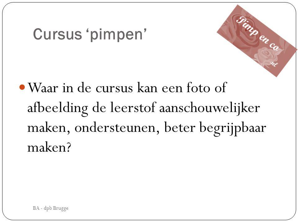 Cursus 'pimpen' Waar in de cursus kan een foto of afbeelding de leerstof aanschouwelijker maken, ondersteunen, beter begrijpbaar maken? BA - dpb Brugg