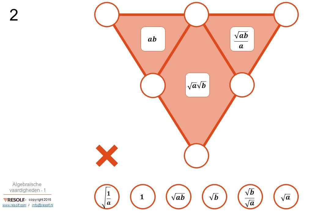- copyright 2015 Algebraïsche vaardigheden - 1 www.resolf.comwww.resolf.com / info@resolf.nlinfo@resolf.nl 2