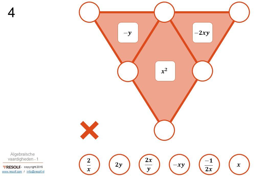 - copyright 2015 Algebraïsche vaardigheden - 1 www.resolf.comwww.resolf.com / info@resolf.nlinfo@resolf.nl OPLOSSINGEN