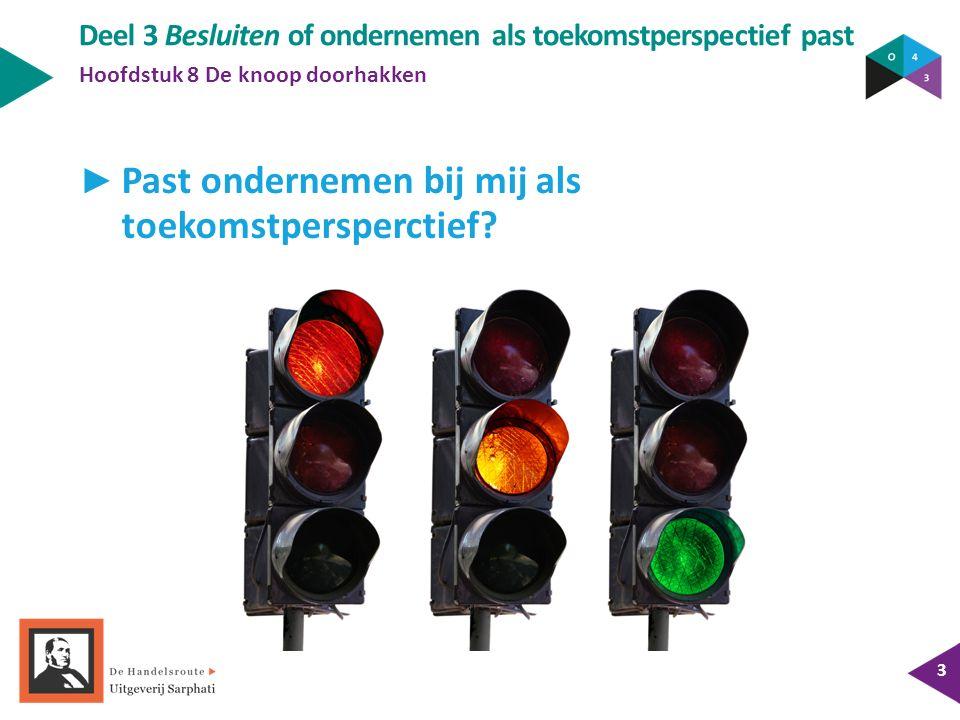 Deel 3 Besluiten of ondernemen als toekomstperspectief past Hoofdstuk 8 De knoop doorhakken 3 ► Past ondernemen bij mij als toekomstpersperctief