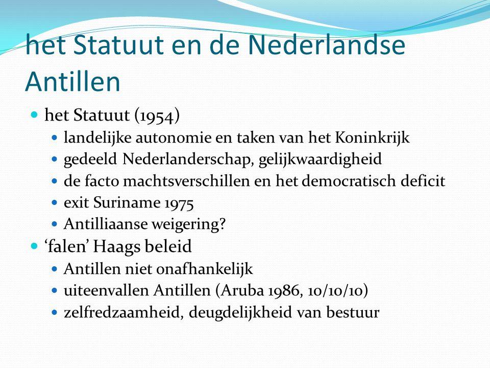 het Statuut en de Nederlandse Antillen het Statuut (1954) landelijke autonomie en taken van het Koninkrijk gedeeld Nederlanderschap, gelijkwaardigheid de facto machtsverschillen en het democratisch deficit exit Suriname 1975 Antilliaanse weigering.