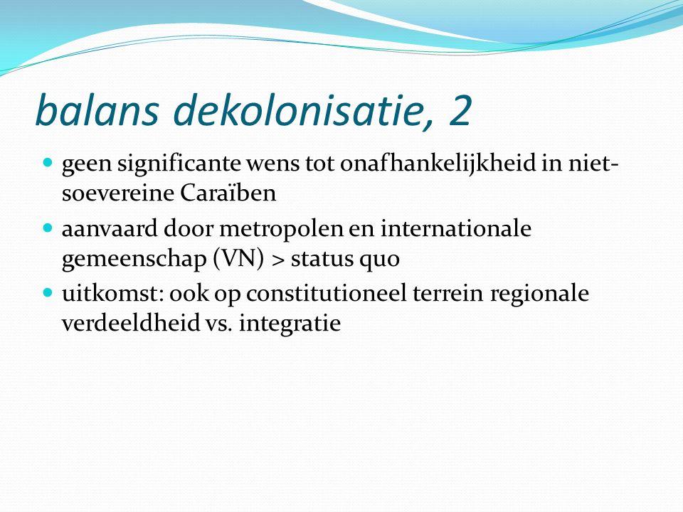 balans dekolonisatie, 2 geen significante wens tot onafhankelijkheid in niet- soevereine Caraïben aanvaard door metropolen en internationale gemeenschap (VN) > status quo uitkomst: ook op constitutioneel terrein regionale verdeeldheid vs.
