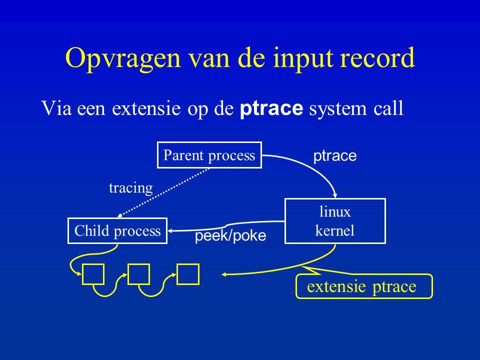 Opvragen van de input record Via een extensie op de ptrace system call Parent process Child process linux kernel tracing ptrace peek/poke extensie ptrace