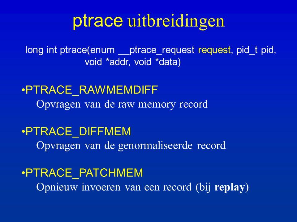 ptrace uitbreidingen long int ptrace(enum __ptrace_request request, pid_t pid, void *addr, void *data) PTRACE_RAWMEMDIFF Opvragen van de raw memory record PTRACE_DIFFMEM Opvragen van de genormaliseerde record PTRACE_PATCHMEM Opnieuw invoeren van een record (bij replay)