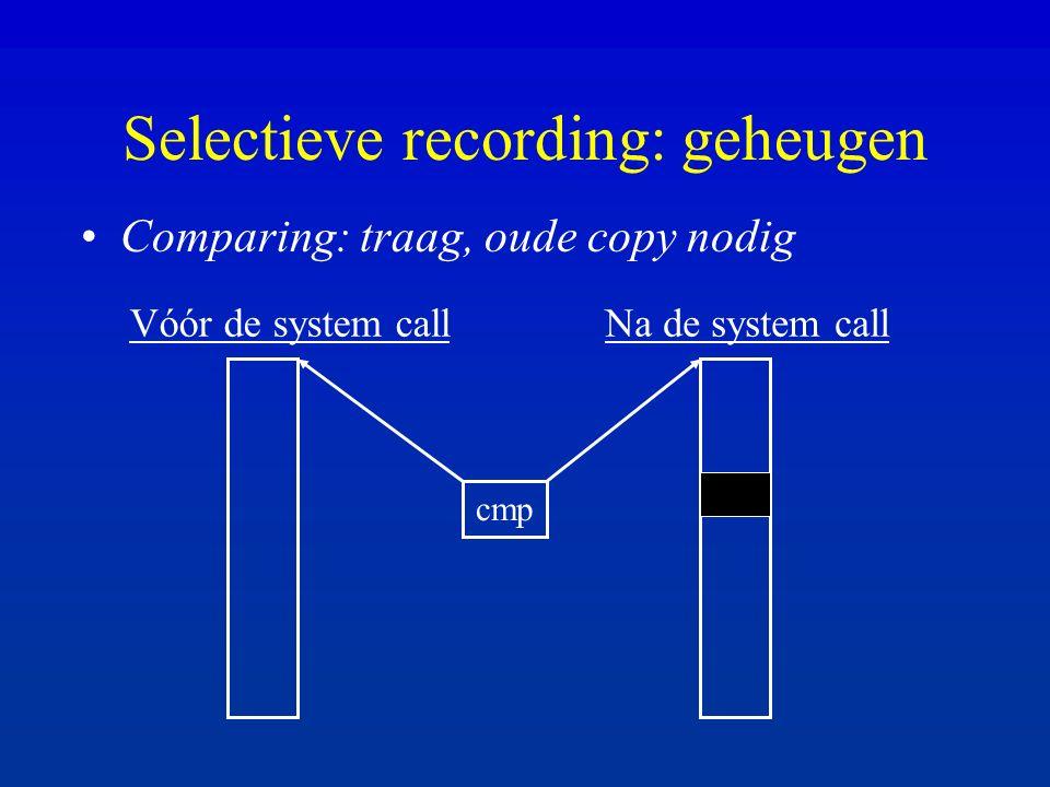 Selectieve recording: geheugen Comparing: traag, oude copy nodig Vóór de system callNa de system call cmp