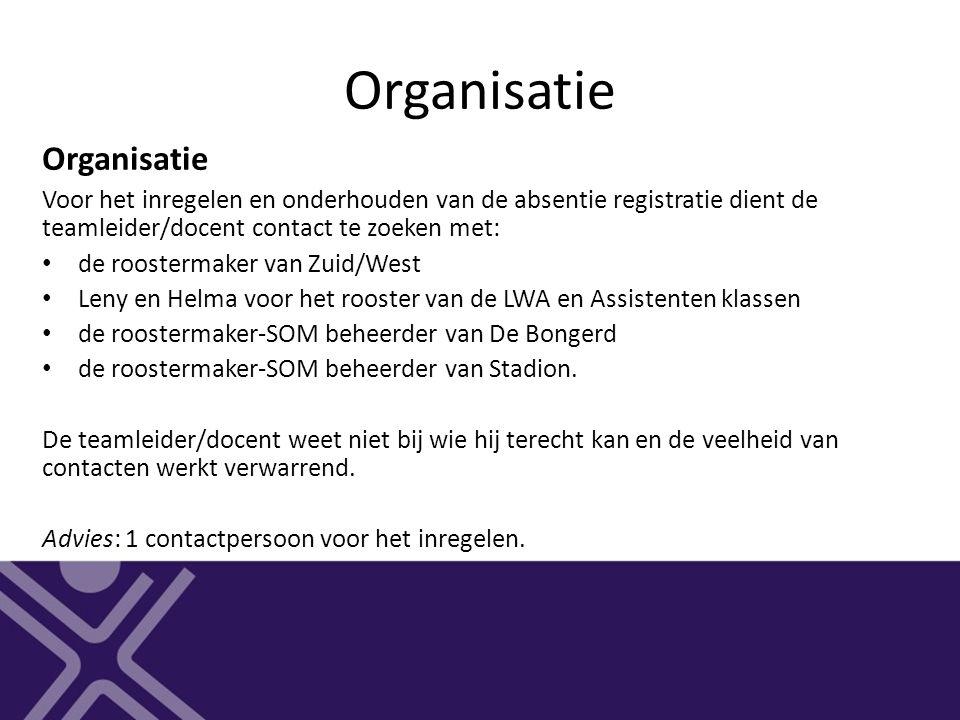 Organisatie Voor het inregelen en onderhouden van de absentie registratie dient de teamleider/docent contact te zoeken met: de roostermaker van Zuid/W