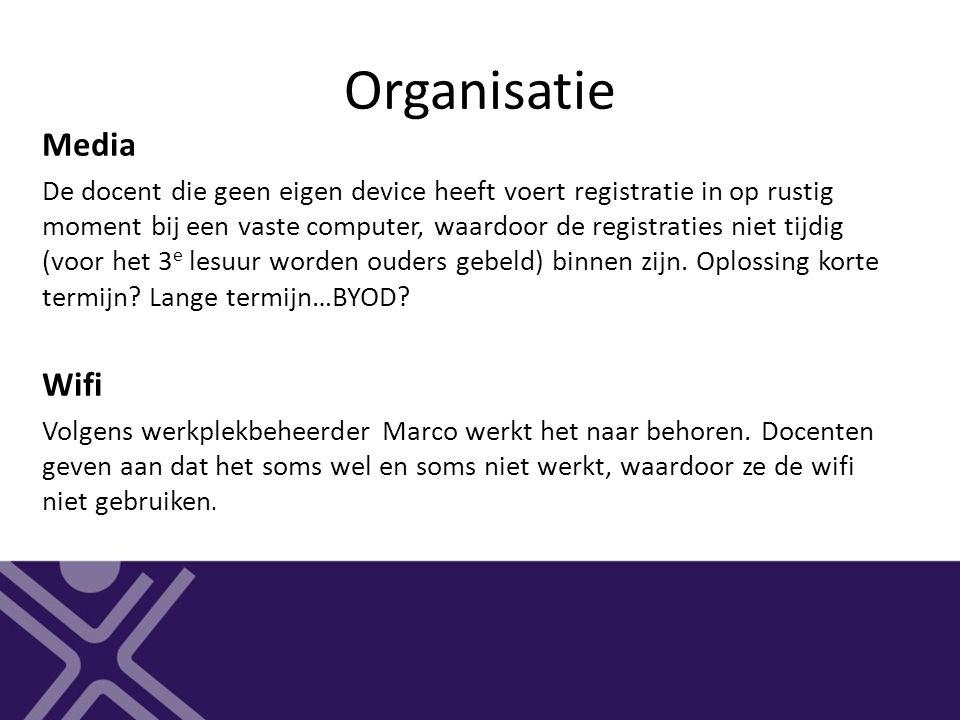 Organisatie Media De docent die geen eigen device heeft voert registratie in op rustig moment bij een vaste computer, waardoor de registraties niet ti