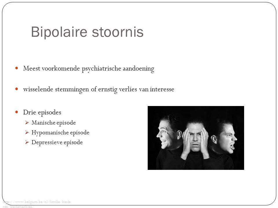 Bipolaire stoornis Meest voorkomende psychiatrische aandoening wisselende stemmingen of ernstig verlies van interesse Drie episodes  Manische episode