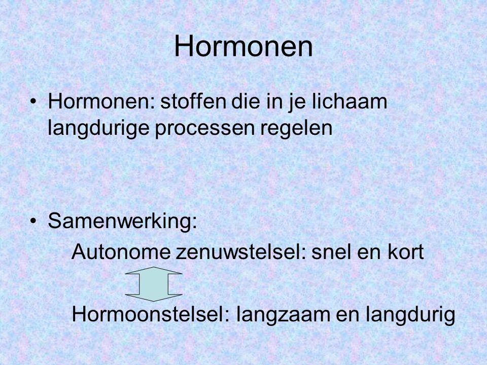 Hormonen Hormonen: stoffen die in je lichaam langdurige processen regelen Samenwerking: Autonome zenuwstelsel: snel en kort Hormoonstelsel: langzaam en langdurig