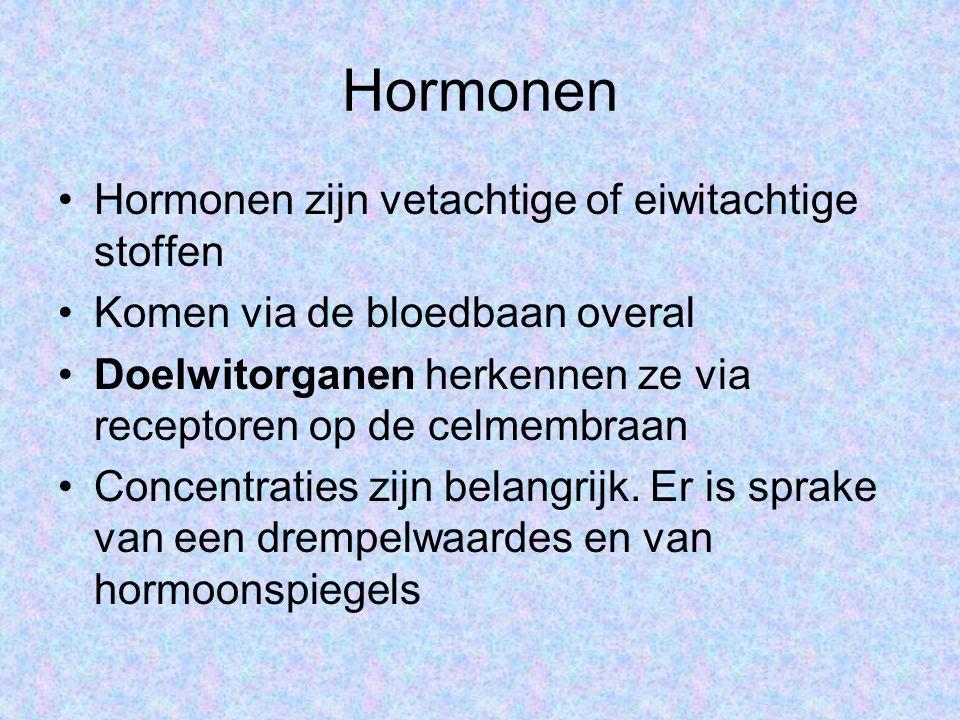 Hormonen Hormonen zijn vetachtige of eiwitachtige stoffen Komen via de bloedbaan overal Doelwitorganen herkennen ze via receptoren op de celmembraan Concentraties zijn belangrijk.