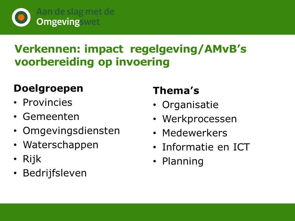 Verkennen: impact regelgeving/AMvB's voorbereiding op invoering Doelgroepen Provincies Gemeenten Omgevingsdiensten Waterschappen Rijk Bedrijfsleven Th