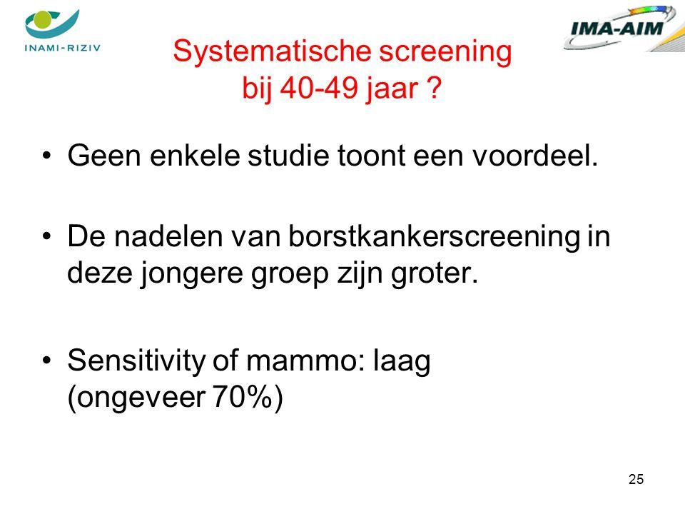 25 Systematische screening bij 40-49 jaar . Geen enkele studie toont een voordeel.