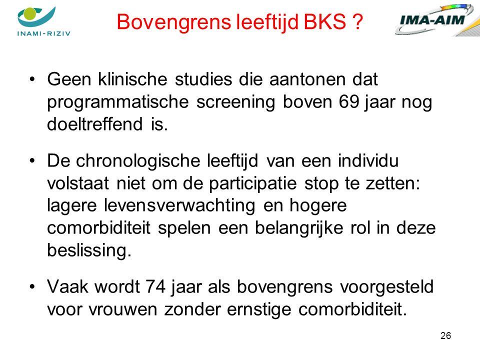 26 Bovengrens leeftijd BKS .