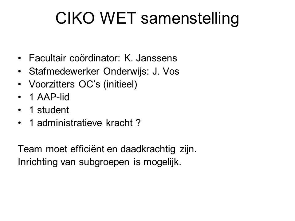 CIKO WET samenstelling Facultair coördinator: K. Janssens Stafmedewerker Onderwijs: J.