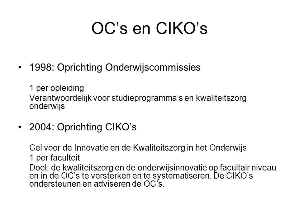 OC's en CIKO's 1998: Oprichting Onderwijscommissies 1 per opleiding Verantwoordelijk voor studieprogramma's en kwaliteitszorg onderwijs 2004: Oprichting CIKO's Cel voor de Innovatie en de Kwaliteitszorg in het Onderwijs 1 per faculteit Doel: de kwaliteitszorg en de onderwijsinnovatie op facultair niveau en in de OC's te versterken en te systematiseren.