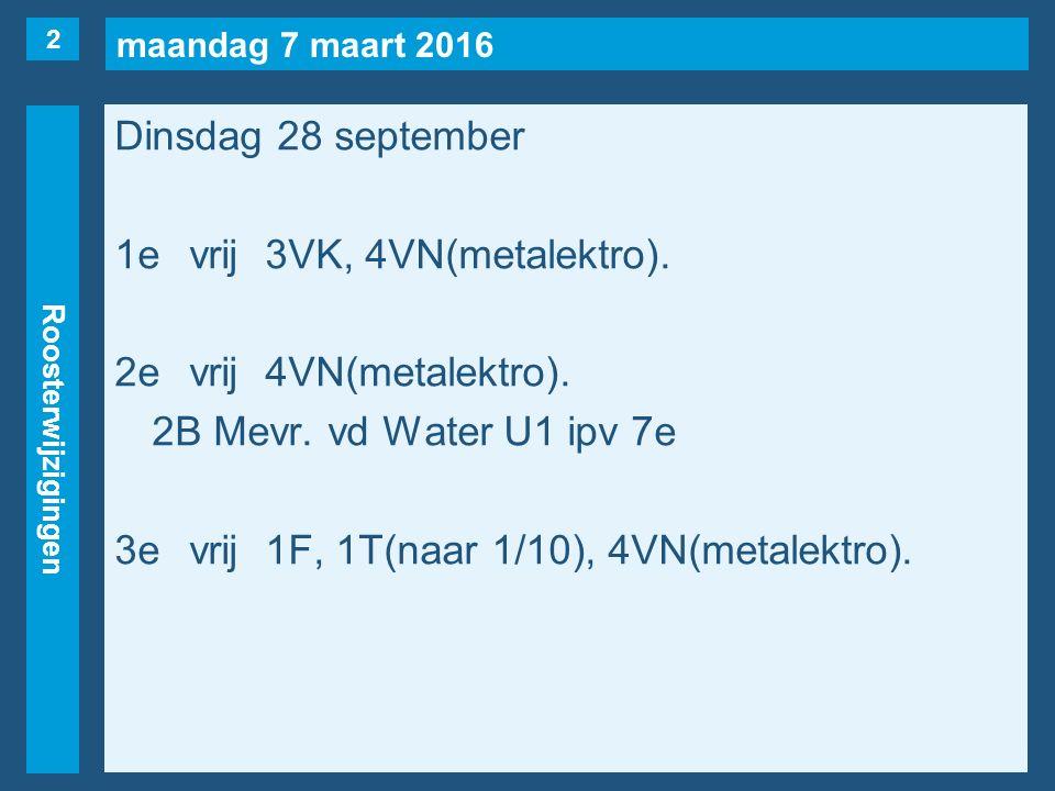 maandag 7 maart 2016 Roosterwijzigingen Dinsdag 28 september 1evrij3VK, 4VN(metalektro).