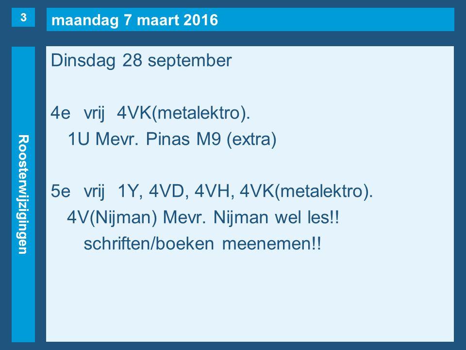 maandag 7 maart 2016 Roosterwijzigingen Dinsdag 28 september 4evrij4VK(metalektro).