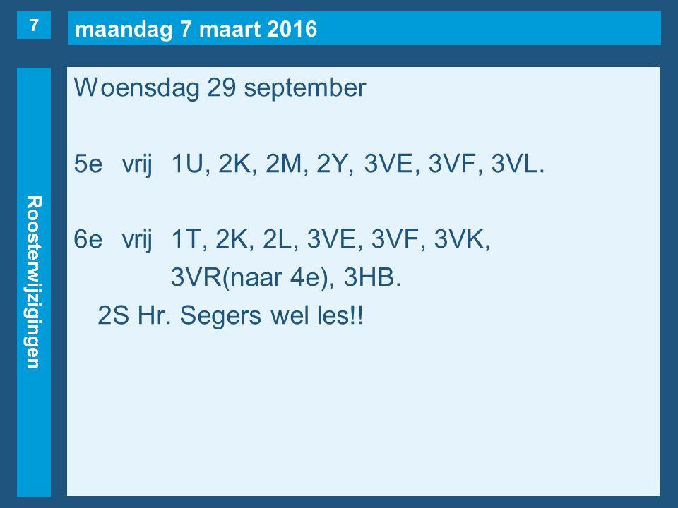 maandag 7 maart 2016 Roosterwijzigingen Woensdag 29 september 5evrij1U, 2K, 2M, 2Y, 3VE, 3VF, 3VL.