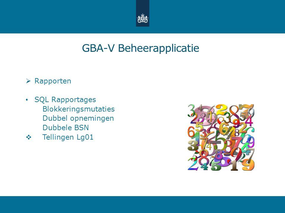  Rapporten SQL Rapportages Blokkeringsmutaties Dubbel opnemingen Dubbele BSN  Tellingen Lg01 GBA-V Beheerapplicatie