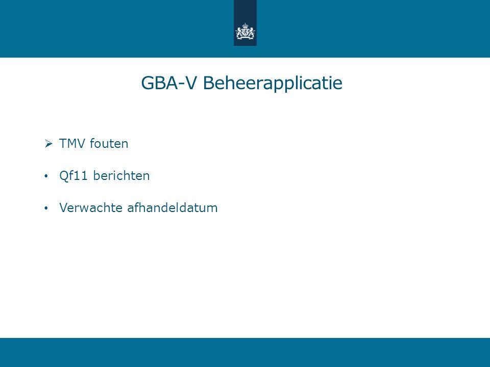  TMV fouten Qf11 berichten Verwachte afhandeldatum GBA-V Beheerapplicatie