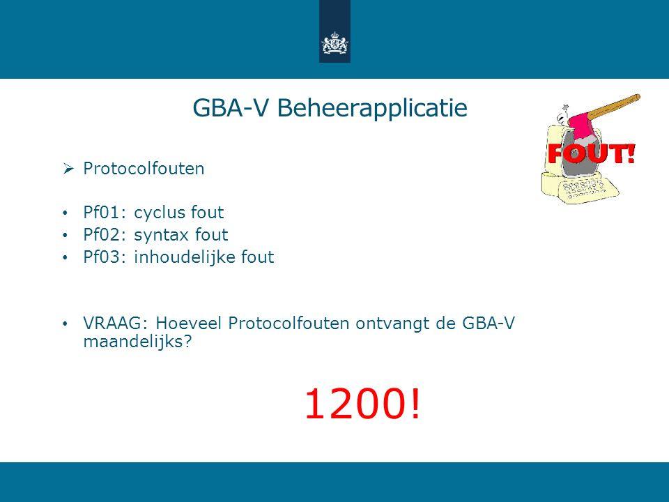  Protocolfouten Pf01: cyclus fout Pf02: syntax fout Pf03: inhoudelijke fout VRAAG: Hoeveel Protocolfouten ontvangt de GBA-V maandelijks? 1200! GBA-V
