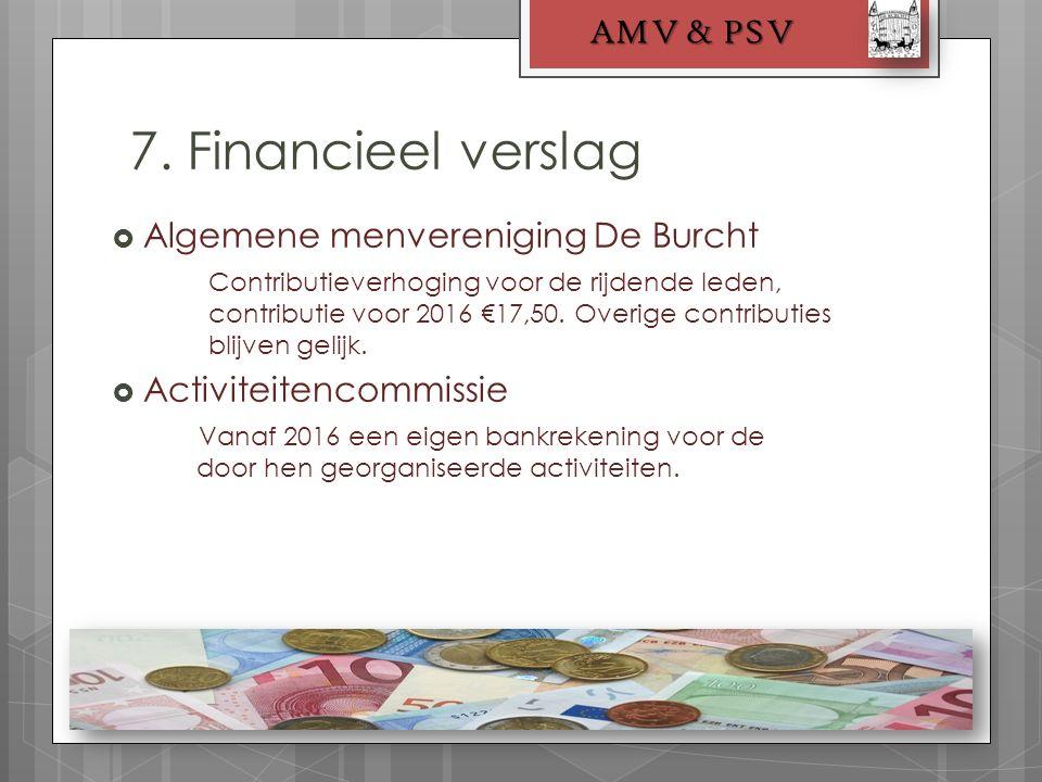 7. Financieel verslag AMV & PSV  Algemene menvereniging De Burcht Contributieverhoging voor de rijdende leden, contributie voor 2016 €17,50. Overige