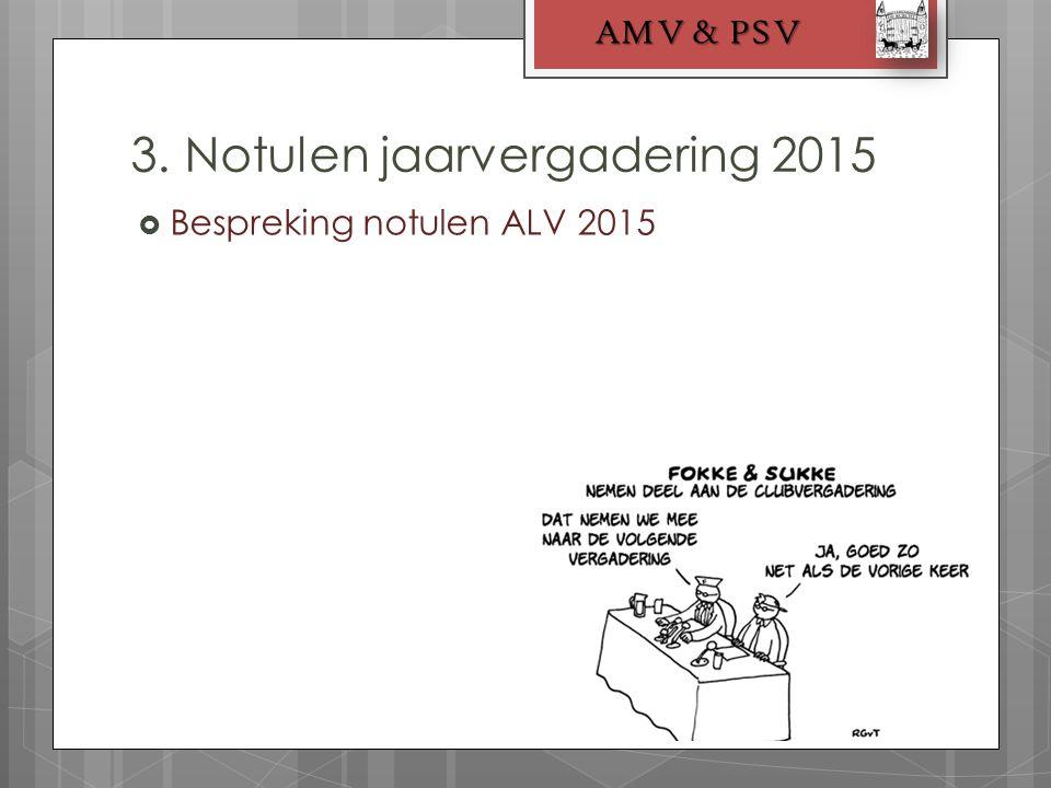  Bespreking notulen ALV 2015 3. Notulen jaarvergadering 2015 AMV & PSV