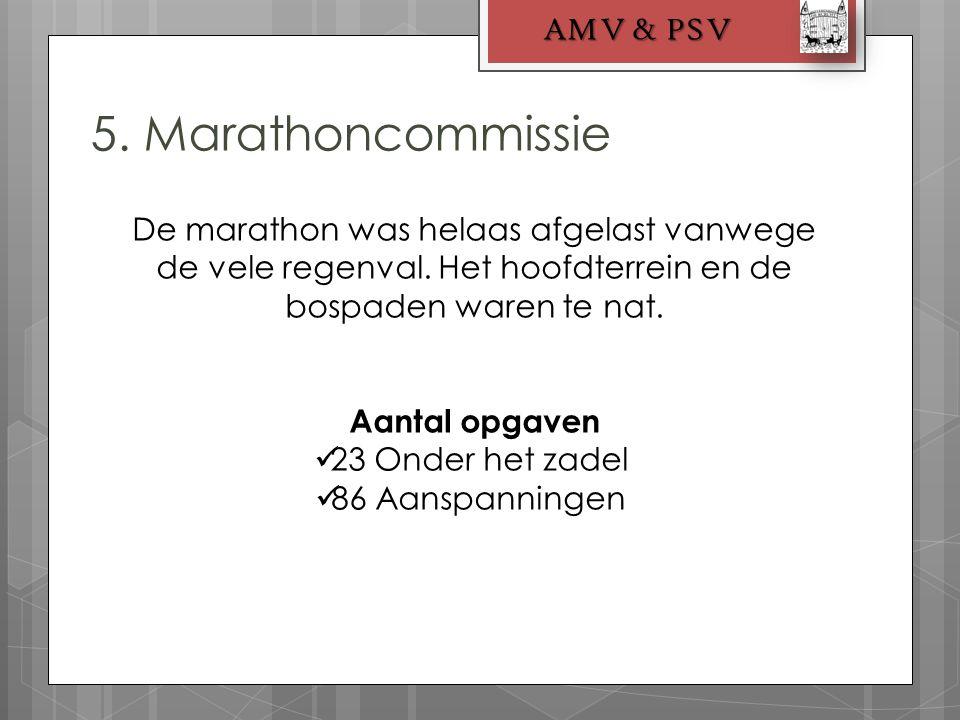 5. Marathoncommissie AMV & PSV De marathon was helaas afgelast vanwege de vele regenval. Het hoofdterrein en de bospaden waren te nat. Aantal opgaven
