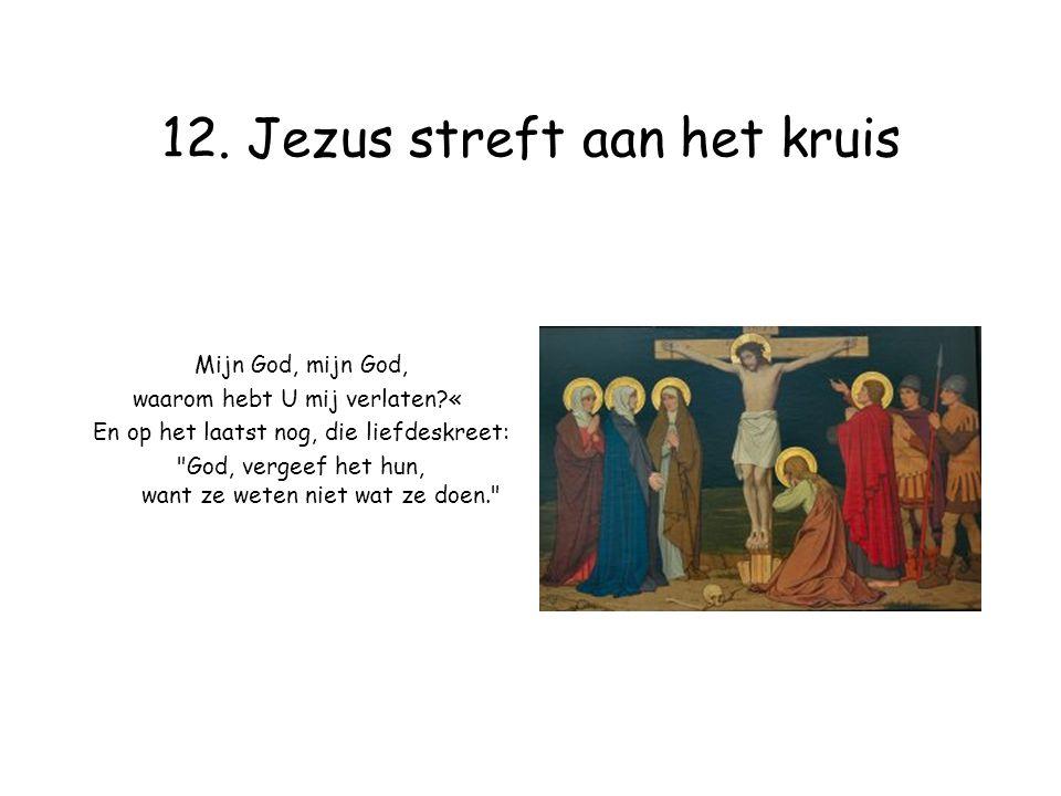 12. Jezus streft aan het kruis Mijn God, mijn God, waarom hebt U mij verlaten?« En op het laatst nog, die liefdeskreet: