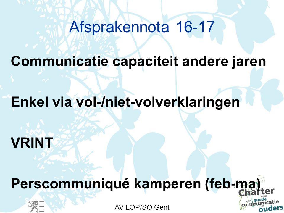 AV LOP/SO Gent Afsprakennota 16-17 Communicatie capaciteit andere jaren Enkel via vol-/niet-volverklaringen VRINT Perscommuniqué kamperen (feb-ma)