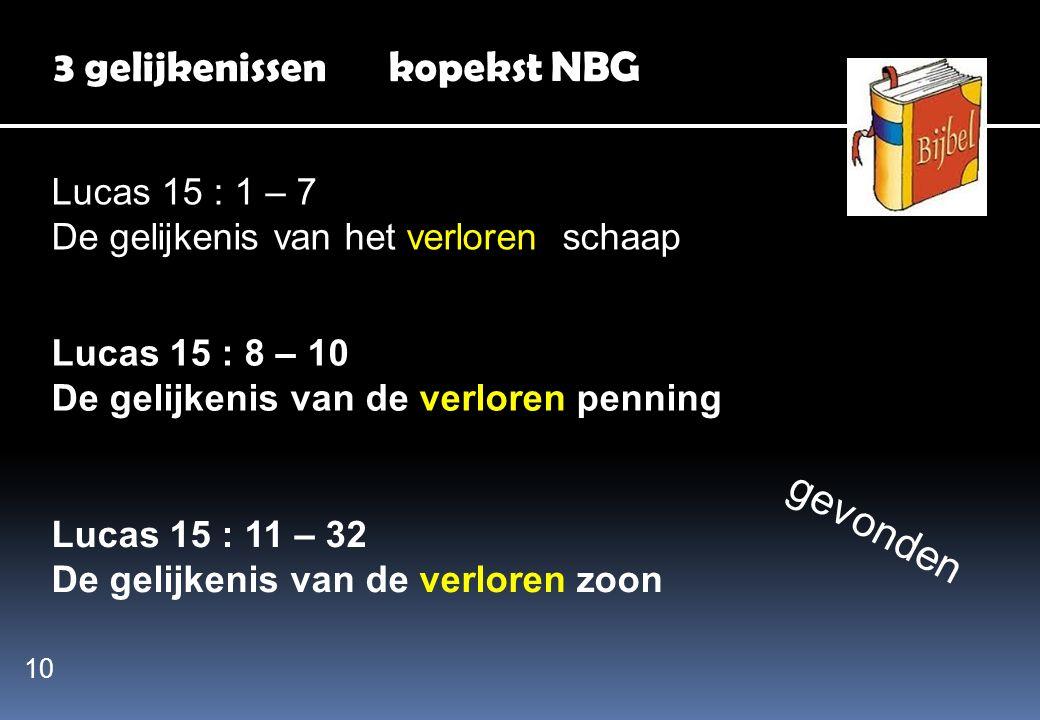 3 gelijkenissen kopekst NBG Lucas 15 : 1 – 7 De gelijkenis van het verloren schaap Lucas 15 : 8 – 10 De gelijkenis van de verloren penning Lucas 15 :
