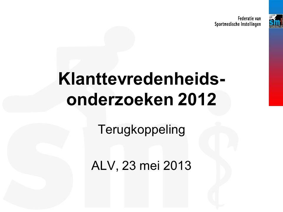 Klanttevredenheids- onderzoeken 2012 Terugkoppeling ALV, 23 mei 2013