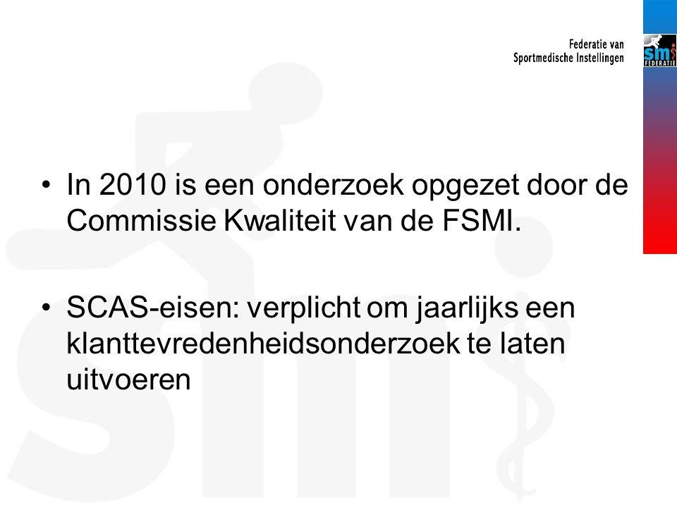 In 2010 is een onderzoek opgezet door de Commissie Kwaliteit van de FSMI. SCAS-eisen: verplicht om jaarlijks een klanttevredenheidsonderzoek te laten