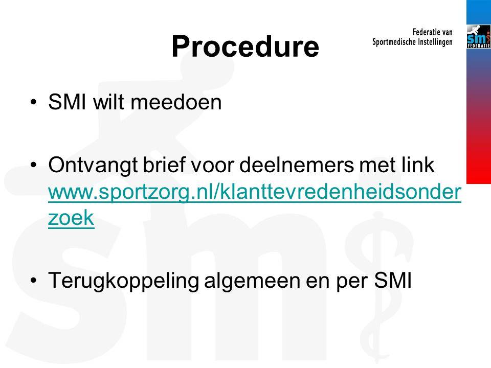Procedure SMI wilt meedoen Ontvangt brief voor deelnemers met link www.sportzorg.nl/klanttevredenheidsonder zoek www.sportzorg.nl/klanttevredenheidson