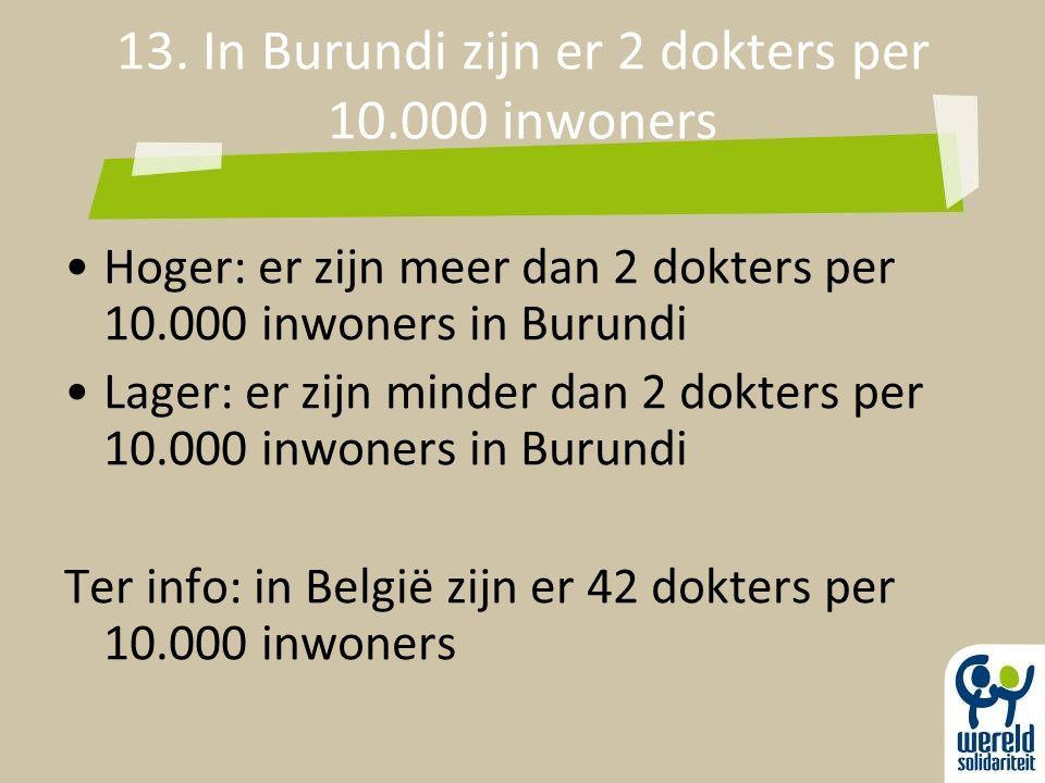 13. In Burundi zijn er 2 dokters per 10.000 inwoners Hoger: er zijn meer dan 2 dokters per 10.000 inwoners in Burundi Lager: er zijn minder dan 2 dokt