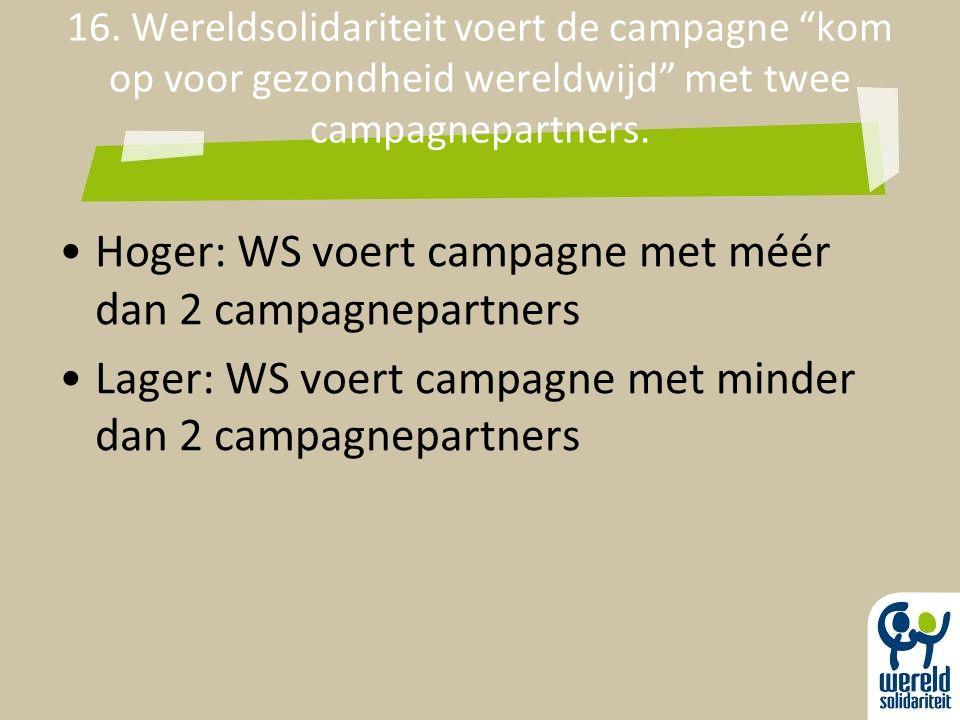 """16. Wereldsolidariteit voert de campagne """"kom op voor gezondheid wereldwijd"""" met twee campagnepartners. Hoger: WS voert campagne met méér dan 2 campag"""