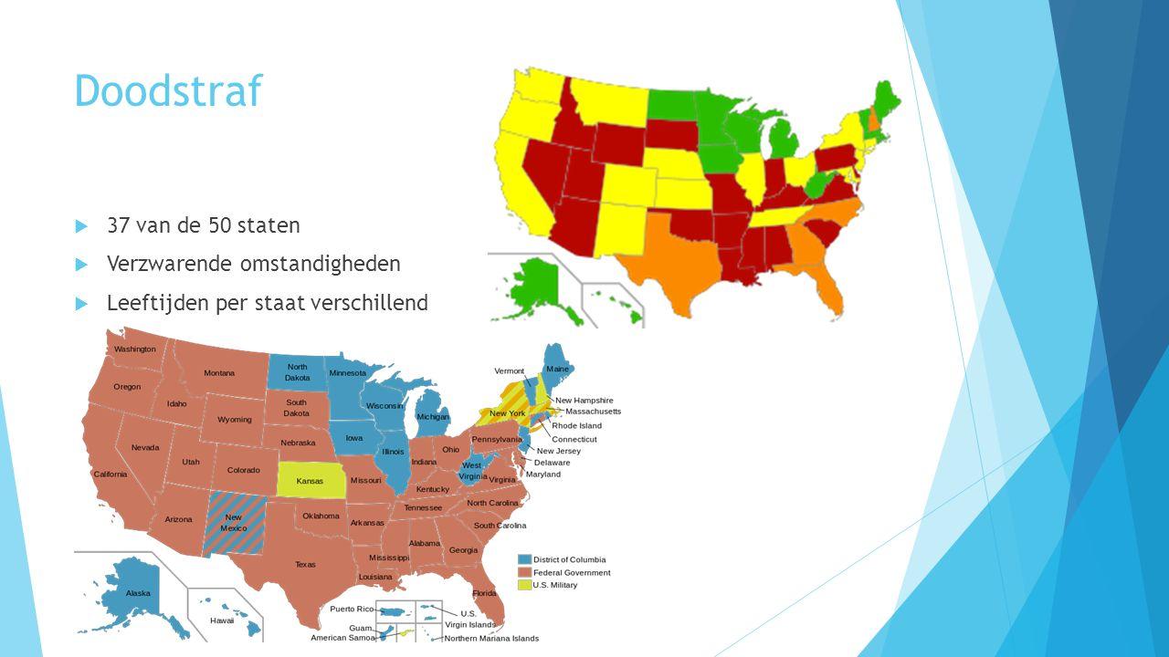 Doodstraf  37 van de 50 staten  Verzwarende omstandigheden  Leeftijden per staat verschillend