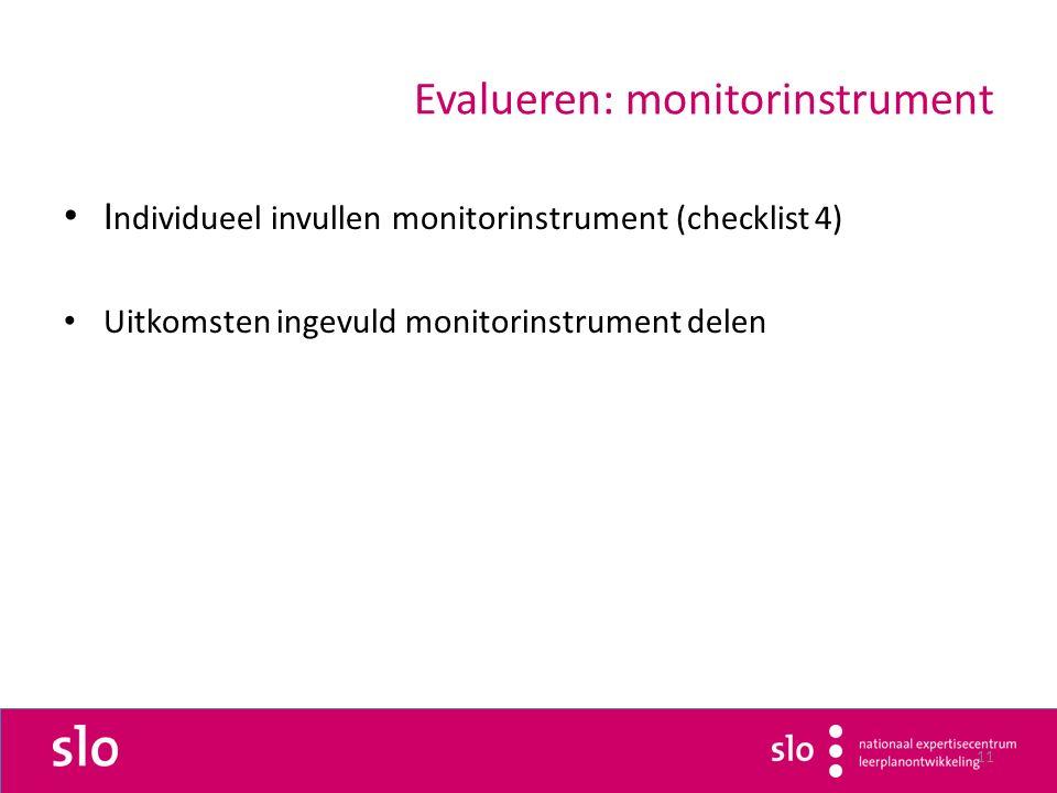 11 Evalueren: monitorinstrument I ndividueel invullen monitorinstrument (checklist 4) Uitkomsten ingevuld monitorinstrument delen
