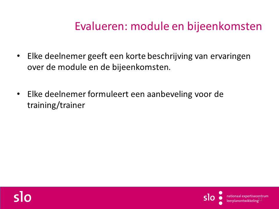 12 Evalueren: module en bijeenkomsten Elke deelnemer geeft een korte beschrijving van ervaringen over de module en de bijeenkomsten.