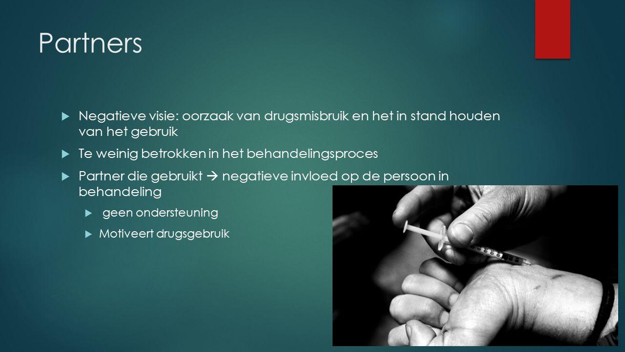Partners  Negatieve visie: oorzaak van drugsmisbruik en het in stand houden van het gebruik  Te weinig betrokken in het behandelingsproces  Partner die gebruikt  negatieve invloed op de persoon in behandeling  geen ondersteuning  Motiveert drugsgebruik