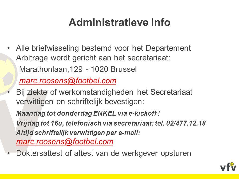 Administratieve info Alle briefwisseling bestemd voor het Departement Arbitrage wordt gericht aan het secretariaat: Marathonlaan,129 - 1020 Brussel ma