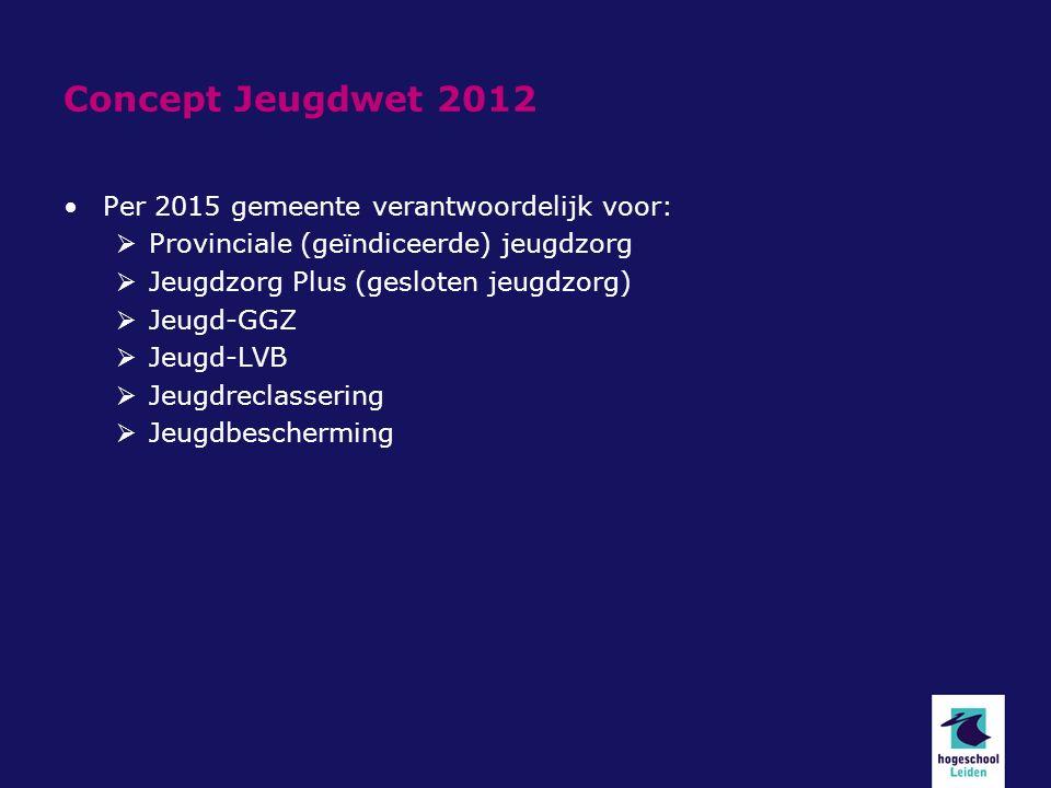 Concept Jeugdwet 2012 Per 2015 gemeente verantwoordelijk voor:  Provinciale (geïndiceerde) jeugdzorg  Jeugdzorg Plus (gesloten jeugdzorg)  Jeugd-GGZ  Jeugd-LVB  Jeugdreclassering  Jeugdbescherming