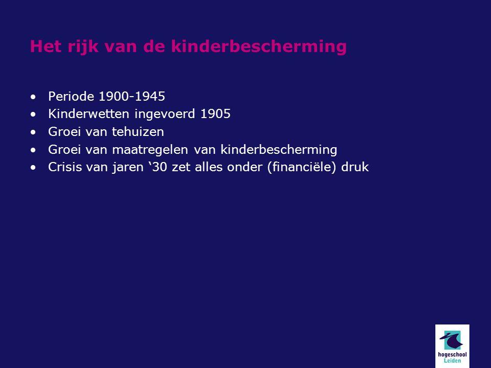 Het rijk van de kinderbescherming Periode 1900-1945 Kinderwetten ingevoerd 1905 Groei van tehuizen Groei van maatregelen van kinderbescherming Crisis van jaren '30 zet alles onder (financiële) druk