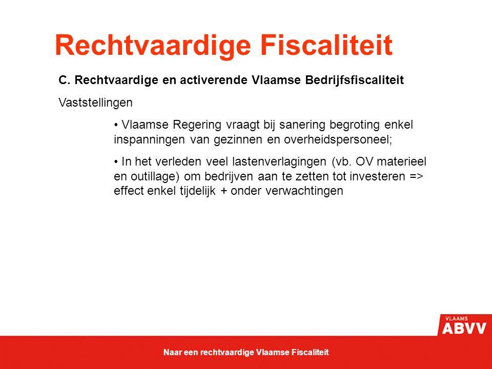Rechtvaardige Fiscaliteit C. Rechtvaardige en activerende Vlaamse Bedrijfsfiscaliteit Vaststellingen Vlaamse Regering vraagt bij sanering begroting en