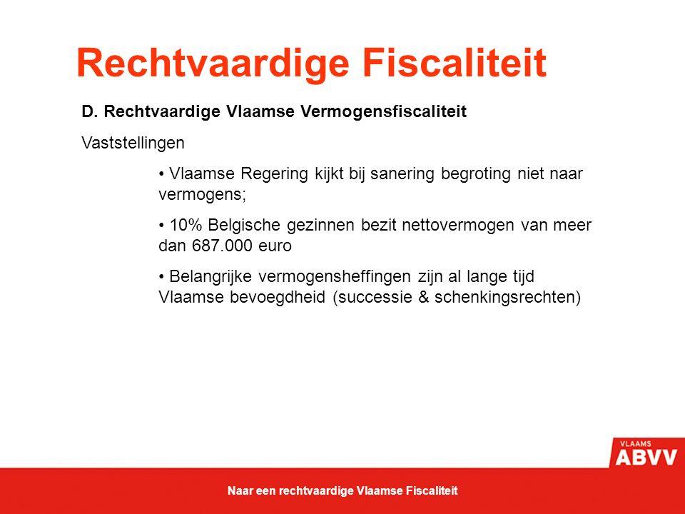 Rechtvaardige Fiscaliteit D. Rechtvaardige Vlaamse Vermogensfiscaliteit Vaststellingen Vlaamse Regering kijkt bij sanering begroting niet naar vermoge