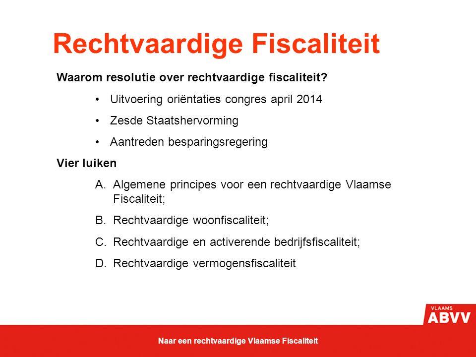 Rechtvaardige Fiscaliteit Waarom resolutie over rechtvaardige fiscaliteit? Uitvoering oriëntaties congres april 2014 Zesde Staatshervorming Aantreden