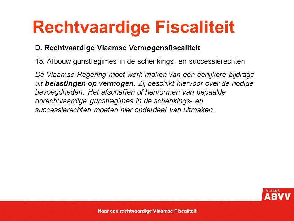 Rechtvaardige Fiscaliteit D. Rechtvaardige Vlaamse Vermogensfiscaliteit 15. Afbouw gunstregimes in de schenkings- en successierechten De Vlaamse Reger